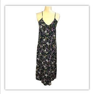 OLD NAVY Black Floral Maxi Dress Criss Cross Med